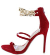 Lorna Red Double Chain Dual Strap Open Toe Stiletto Heel - Wholesale Fashion Shoes