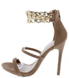 Lorna Taupe Double Chain Dual Strap Open Toe Stiletto Heel - Wholesale Fashion Shoes