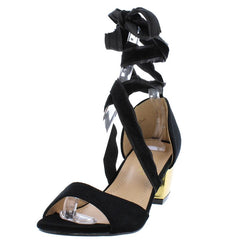 DALE003 BLACK VELVET WOMEN'S HEEL - Wholesale Fashion Shoes