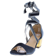 DALE003 GREY VELVET WOMEN'S HEEL - Wholesale Fashion Shoes