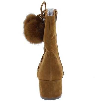 Lottie05 Rust Lace Up Pom Pom Block Heel Ankle Boot - Wholesale Fashion Shoes