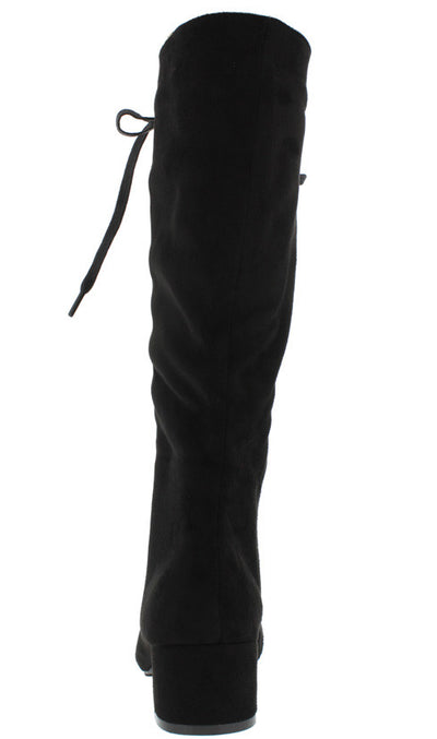 Lottie Black Lace Up Block Heel Knee High Boot - Wholesale Fashion Shoes