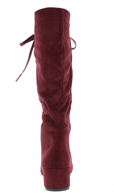 Lottie Bordeaux Lace Up Block Heel Knee High Boot - Wholesale Fashion Shoes