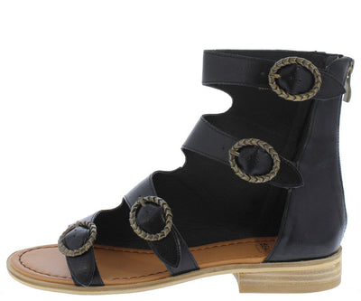 Lotus02 Black Open Toe Multi Buckle Side Cut Out Sandal - Wholesale Fashion Shoes