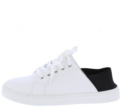 Louisa01s White Black Elastic Heel Lace Up Sneaker Flat - Wholesale Fashion Shoes