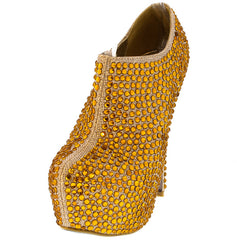 LOUSIA11 GOLD GLITTER RHINESTONE ANKLE BOOT - Wholesale Fashion Shoes