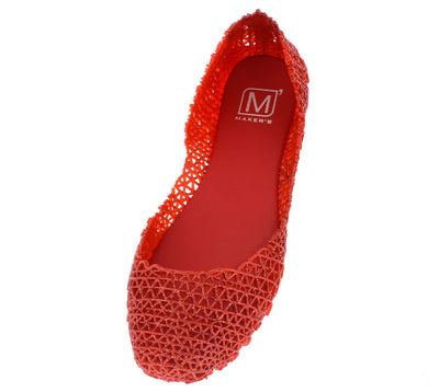 Love1 Red Glimmering Jelly Flat - Wholesale Fashion Shoes