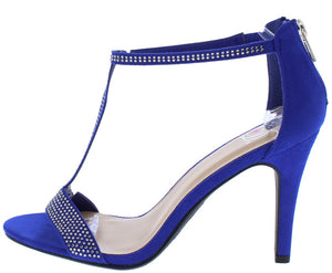 27ad5c904fb Loves Electric Blue Sparkle Open Toe T Strap Heel - Wholesale Fashion Shoes