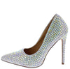 Love Silver Rhinestone Studded Pointed Toe Stiletto Heel - Wholesale Fashion Shoes