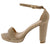 Lovely10 Light Taupe Open Toe Ankle Strap Low Platform Heel