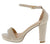 Lovely10 Nude Open Toe Ankle Strap Low Platform Heel