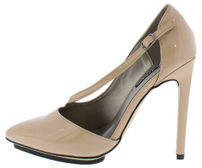 Ariel109 Nude Pat Pu Pointed Toe Cross Strap Stiletto Heel - Wholesale Fashion Shoes