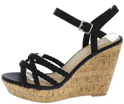 Loyalty Black Braided Strappy Open Toe Slingback Cork Wedge - Wholesale Fashion Shoes