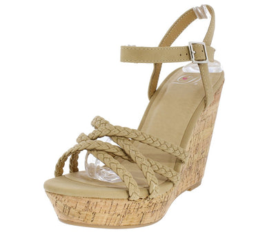 Loyalty Natural Braided Strappy Open Toe Slingback Cork Wedge - Wholesale Fashion Shoes