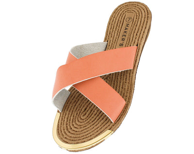 Luann4 Blush Cross Strap Espadrille Sandal - Wholesale Fashion Shoes