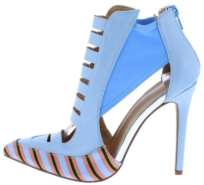 Harper221 Blue Pu Striped Multi Cut Out Pointed Toe Heel - Wholesale Fashion Shoes