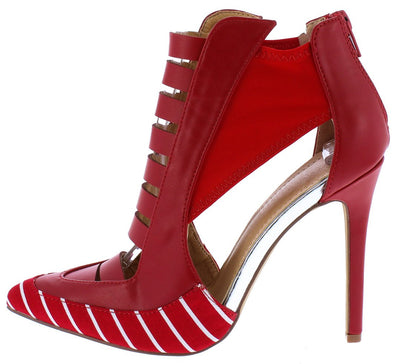 Harper221 Red Pu Striped Multi Cut Out Pointed Toe Heel - Wholesale Fashion Shoes