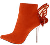 Juliet139 Orange Butterfly Metallic Stiletto Ankle Boot - Wholesale Fashion Shoes