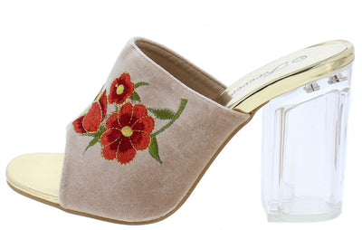 Lucency34 Taupe Red Embroidered Flower Mule Lucite Heel - Wholesale Fashion Shoes