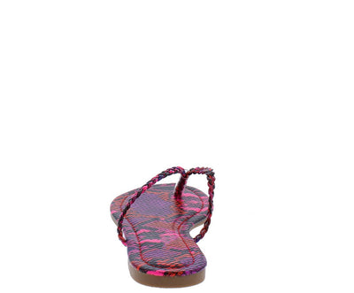 Jessica233 Pink Multi Snake Slide On Thong Flat - Wholesale Fashion Shoes