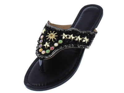 Madison093 Black Star Studded Multi Stone Thong Sandal - Wholesale Fashion Shoes