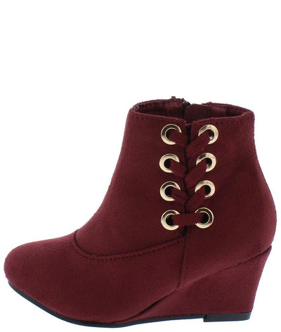 Lucia73K Burgundy Side Lace Up Kids Ankle Boot - Wholesale Fashion Shoes