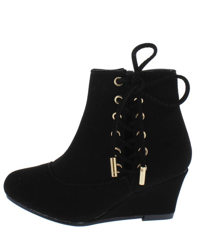 Lucia76K Black Side Lace Up Wedge Kids Ankle Boot - Wholesale Fashion Shoes