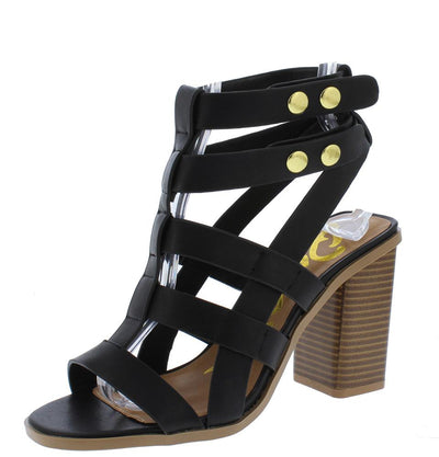 Luciana07x Black Caged Strappy Open Toe Stacked Block Heel - Wholesale Fashion Shoes