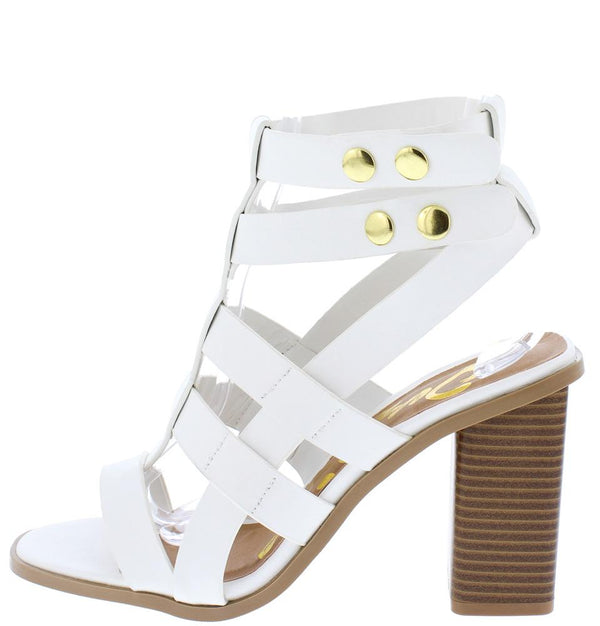 White Toe Caged Stacked Luciana07x Open Block Heel Strappy wPkX80On
