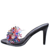 Jannette132 Black Multi Jeweled Open Toe Slide Heel - Wholesale Fashion Shoes