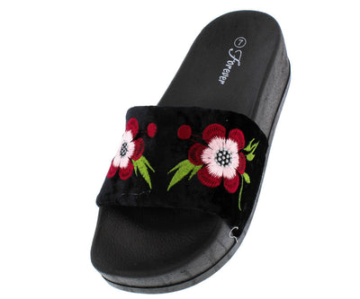 Lucky26 Black Velvet Flower Embroidered Slide Flat Sandal - Wholesale Fashion Shoes