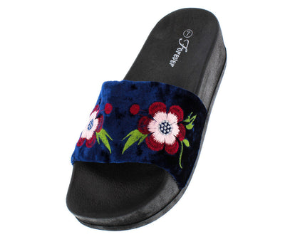 Lucky26 Blue Velvet Flower Embroidered Sandal - Wholesale Fashion Shoes