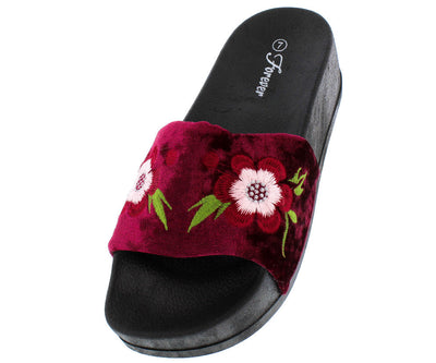 Lucky26 Burgundy Velvet Flower Embroidered Sandal - Wholesale Fashion Shoes