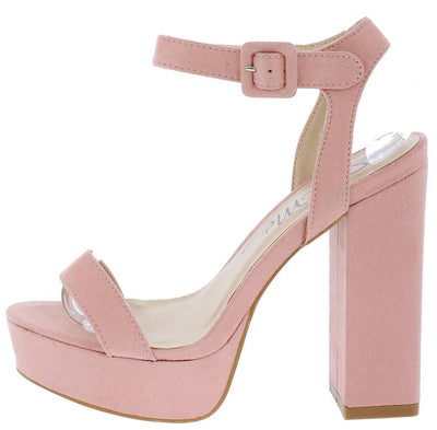 Lucky Blush Open Toe Cut Out Chunky Platform Heel - Wholesale Fashion Shoes