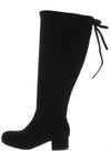 Lucy1k Black Tie Back Short Heel Kids Boot - Wholesale Fashion Shoes