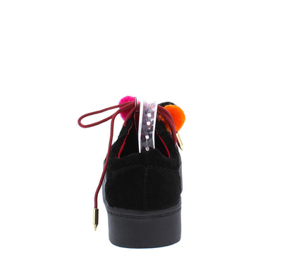 Lucy Black Colorful Pom Pom Women's Sneaker Flat - Wholesale Fashion Shoes