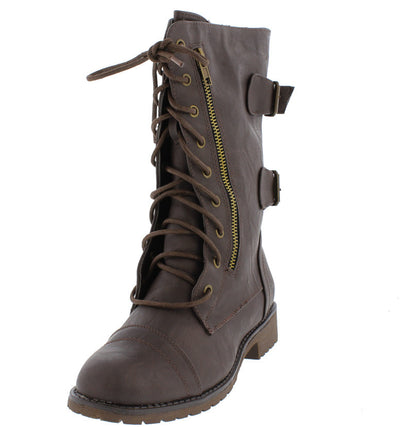 Lug12n Brown Lace Up Buckle Rugged Moto Boot - Wholesale Fashion Shoes