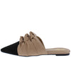 Luke Camel Suede Tri Knotted Pointed Toe Mule Slide Flat - Wholesale Fashion Shoes
