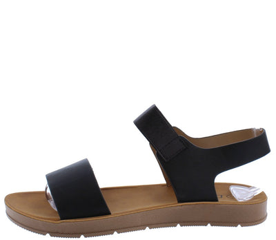 Aaliyah177 Black Open Toe Dual Strap Slingback Sandal - Wholesale Fashion Shoes