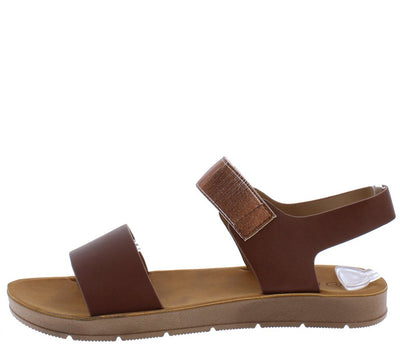 Aaliyah177 Camel Open Toe Dual Strap Slingback Sandal - Wholesale Fashion Shoes