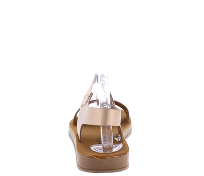 Aaliyah177 Champagne Open Toe Dual Strap Slingback Sandal - Wholesale Fashion Shoes