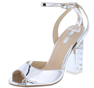 Lumi04x Silver Peep Toe Ankle Strap Detailed Lucite Heel - Wholesale Fashion Shoes