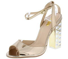Lumi04x Champagne Peep Toe Ankle Strap Detailed Lucite Heel - Wholesale Fashion Shoes