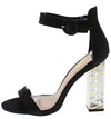 Lumi07x Black Satin Open Toe Ankle Strap Geo Lucite Heel - Wholesale Fashion Shoes