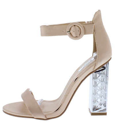 Lumi07x Light Champagne Satin Open Toe Ankle Strap Geo Lucite Heel - Wholesale Fashion Shoes