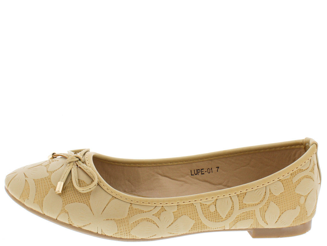 3b2f03181 Lupe01 Nude Floral Embossed Bow Embellished Flat - Wholesale Fashion Shoes