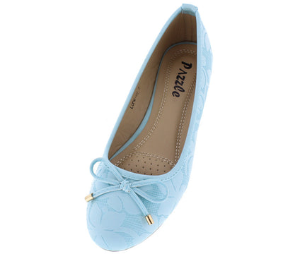 Lupe01 Blue Floral Embossed Bow Embellished Flat - Wholesale Fashion Shoes