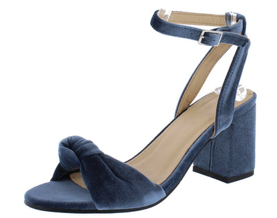 Piper064 Blue Knotted Open Toe Rear Cut Out Chunky Heel - Wholesale Fashion Shoes