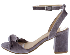 6194e5c8210 Piper064 Grey Knotted Open Toe Rear Cut Out Chunky Heel - Wholesale Fashion  Shoes