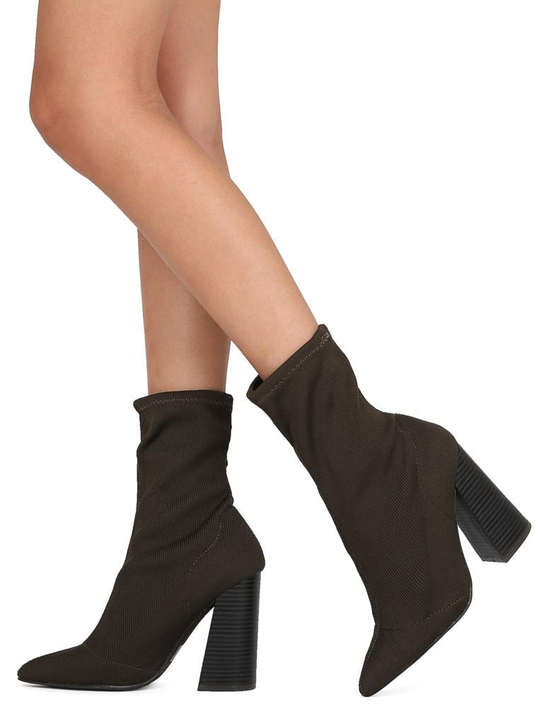 668fe8fe180dd5 Lust01 Olive Stretch Pointed Toe Slanted Heel Boot - Wholesale Fashion Shoes